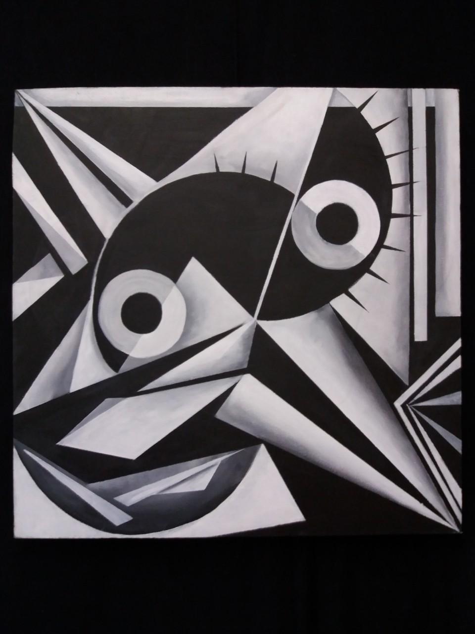 Specht acryl op canvas 50x50