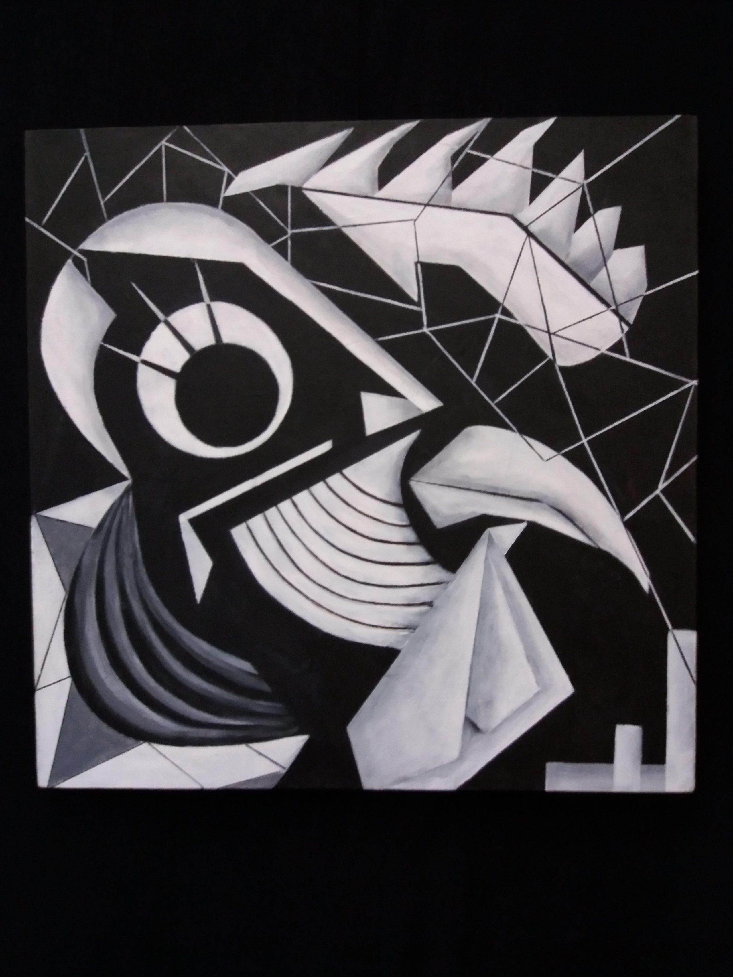 De haan acryl op canvas 50X50