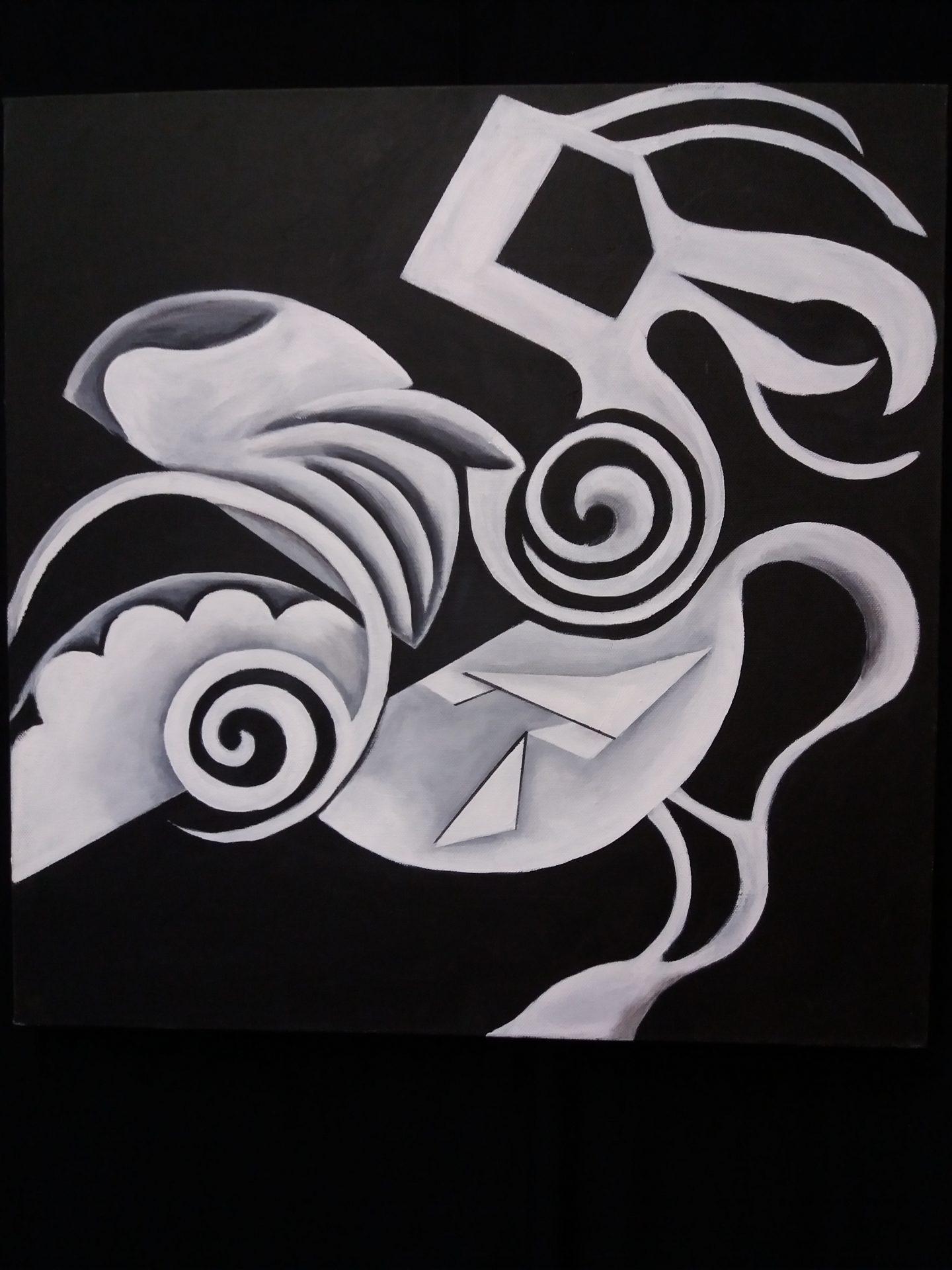 Dodo acryl op canvas 50X50