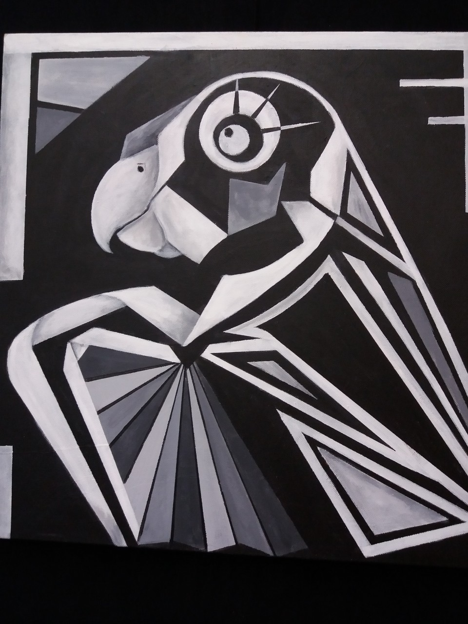 Papegaai acryl op canvas 50x50